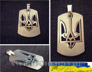 Кулон «Медальйон тризуб»,  під срібло