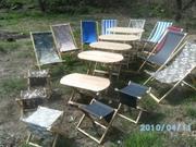 Столы. Стульчики туристические. Мебель из дерева 444-180